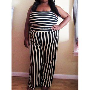 Junior's Black, White and Yellow Striped Jumpsuit